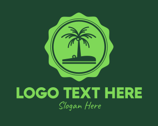 Beach Resort - Green Tropical Coconut Tree logo design