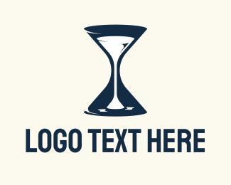 Time - Wine Time Hourglass logo design