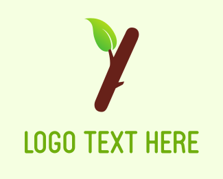 Green House - Brown Branch & Green Leaf  logo design