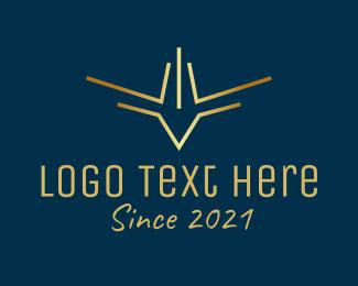 Airliner - Gold Bird Aviation logo design