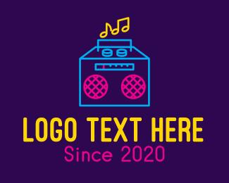 Disco Bar - Neon Retro Music Player logo design