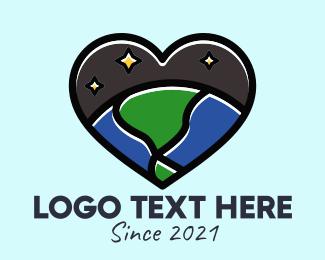 Space - Outer Space Heart logo design