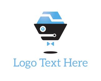 Chat Bot - Robot Bow Tie logo design
