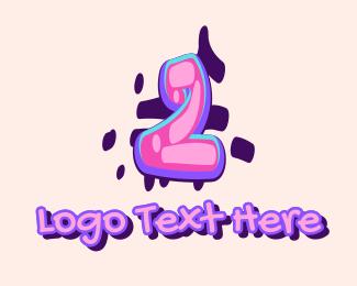 graffiti Pop Graffiti Art Number 2 logo design