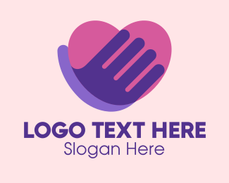 Online Dating - High Five Heart  logo design