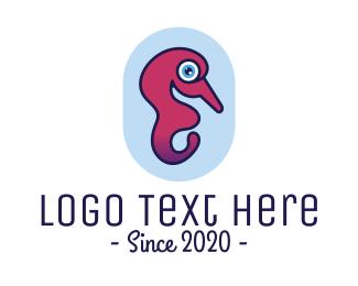 Abyssmal - Gradient Seahorse Outline logo design