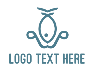 Blue Fish - Fish Anchor logo design