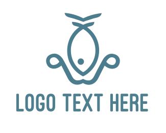Seafood - Fish Anchor logo design
