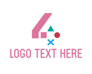 Console Game - Pink Gaming Number 4  logo design