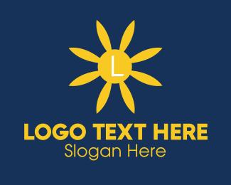 Sunflower - Blue Flower Lettermark logo design