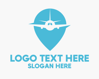 Logistics Company - Airplane Location Pin logo design