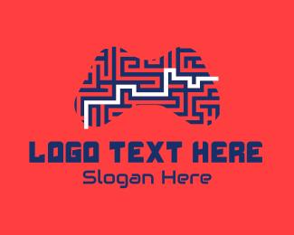 Super Mario - Joystick Controller Maze logo design