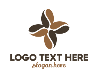 Brown Flower - Coffee Flower logo design
