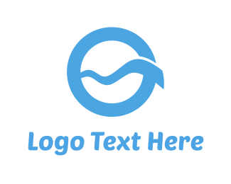 Surf - Blue Wave Circle logo design