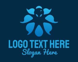 Ocean Park - Blue Octopus Monster logo design