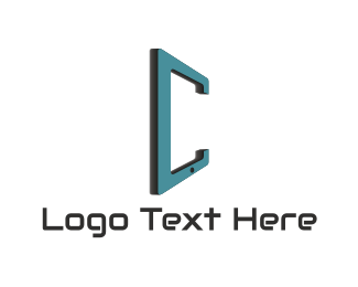 Blue Phone - Gadget Device Letter C logo design