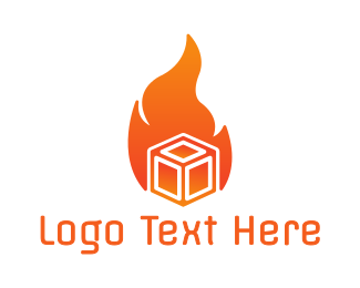 Fire - Orange Fire Box logo design