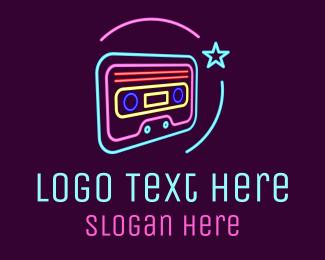 Disco - Neon Music Cassette  logo design