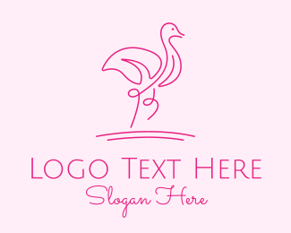 Fashion Accesories - Minimalist Pink Flamingo logo design