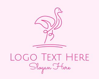 Flamingo - Minimalist Pink Flamingo logo design
