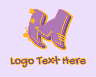 Record Producer - Graffiti  Star Letter M logo design