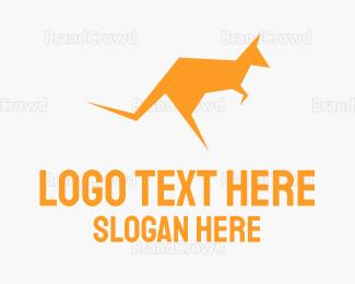 Jump - Yellow Kangaroo logo design