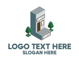 3d - Modern Building Letter L logo design