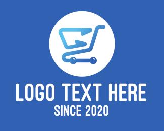 Mart - Blue Shopping Cart logo design