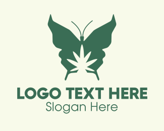 Hemp Farm - Green Weed Butterfly logo design