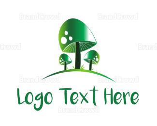 Toxic - Green Mushrooms logo design