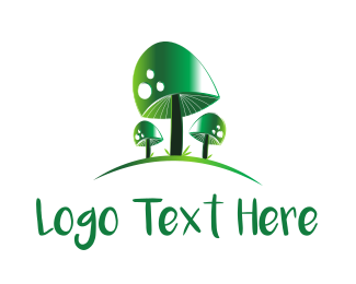 Poisonous - Green Mushrooms logo design