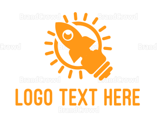 Bulb - Yellow Rocket Lamp logo design