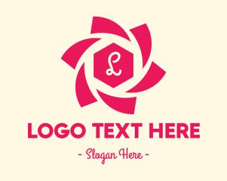 Blooming - Pink Flower Lettermark logo design