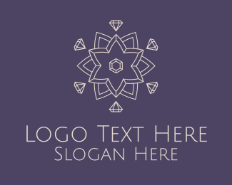 Costly - Diamond Lotus Outline logo design