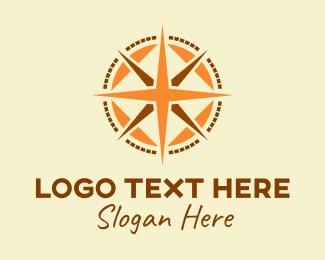 Route - Rustic Navigation Compass logo design