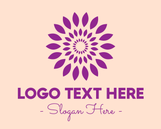 Flower Stand - Round Purple Leaves logo design