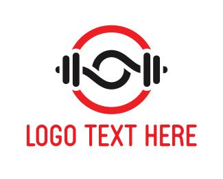 Weights - Black Dumbbells logo design
