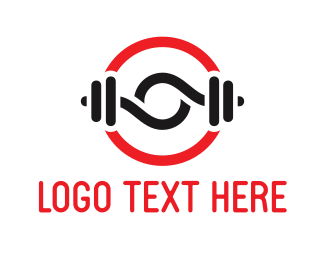Gym - Black Dumbbells logo design