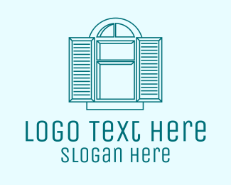 Open - Open Window Shutter  logo design