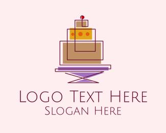 Boulangerie - Geometric Cake Bakery  logo design