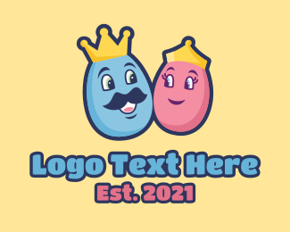 Crown - King Queen Easter Egg  logo design