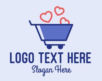 Shop - Shopping Cart Hearts  logo design