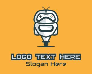 Twitch - Wheeled Gamer Droid logo design