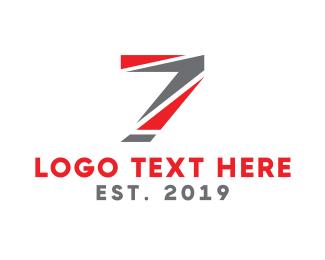 Number 7 - Sporty Seven logo design