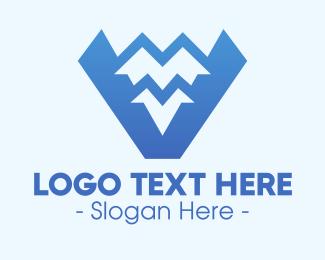 Mountain Range - Blue Mountain Range Letter V logo design