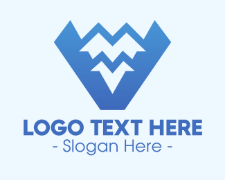 Landform - Blue Mountain Range Letter V logo design