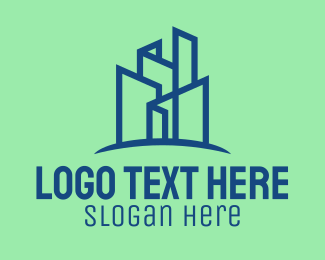 Architect - Geometric City Skyline logo design