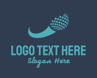 Golfer - Golf Ball Swoosh logo design