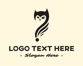 Nocturnal Animal - Owl Question logo design