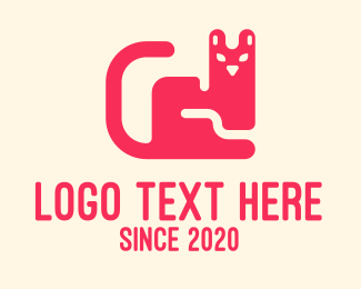 Cat Tail - Pink Pet Cat logo design